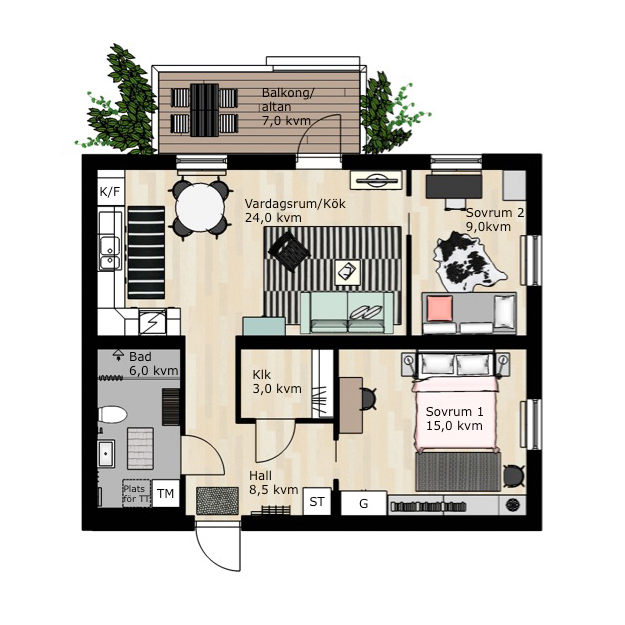 Floorplan example: apartment IKEA Skanska BoKlok