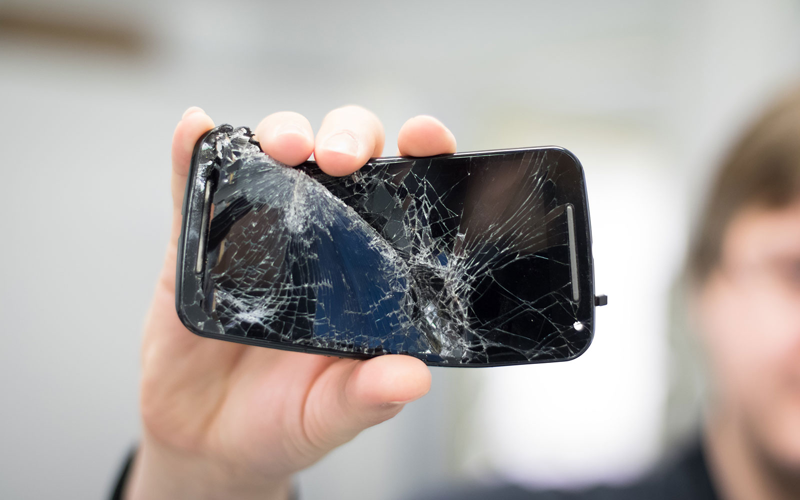 Smartphone smashed with an axe