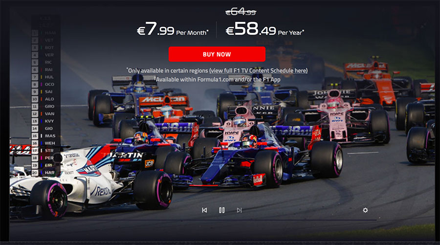 Accessing Formula 1 TV Pro streaming video in countries